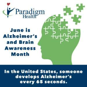 June is Alzheimer's and Brain Awareness Month: In the United States, someone develops Alzheimer's every 65 seconds.